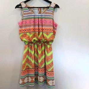 AIL Small Multi Color Sleeveless Print Dress